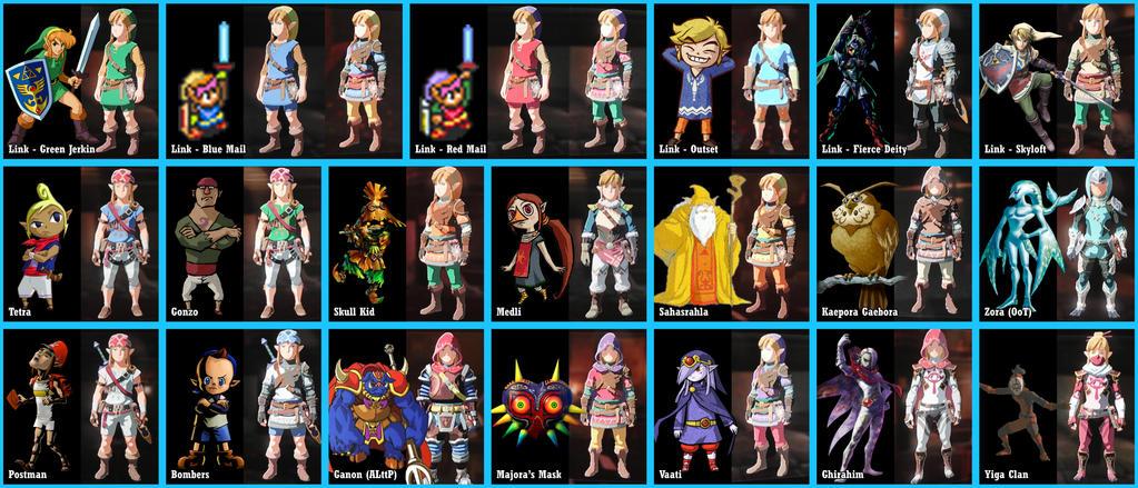 Breath of the Wild - Zelda Color Swaps by Lwiis64