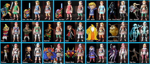 Breath of the Wild - Zelda Color Swaps by Lwiis64