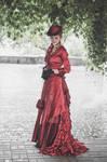 Dark-red victorian dress