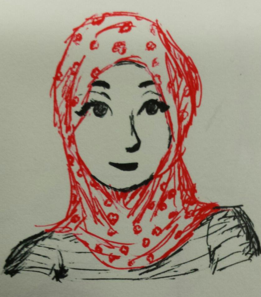 hijab girl - pen by bodymindandspirit