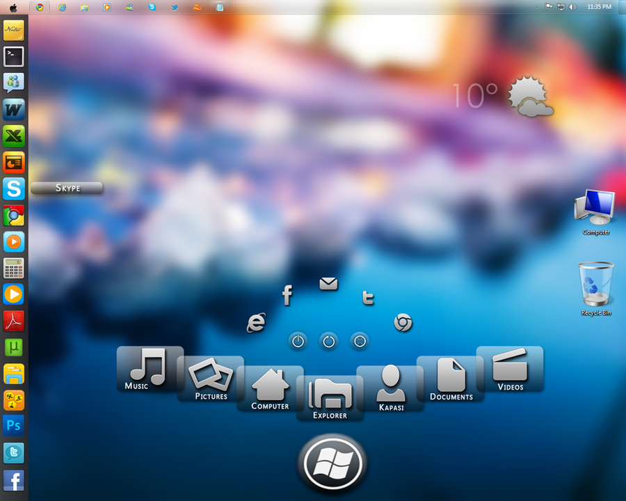 Windows 7 with rainmeter skins by kaps1991 on deviantart for Bureau windows 7 rainmeter