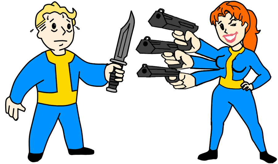 Vault Boy With Gun Vault Boy vs Vault Girl by