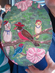 Painting -- Red Hat Birds by tigglespits