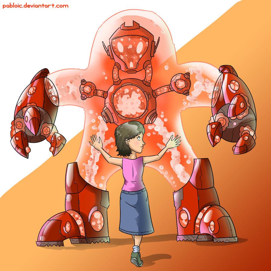 Hugging a PlasmaBot by Pabloic