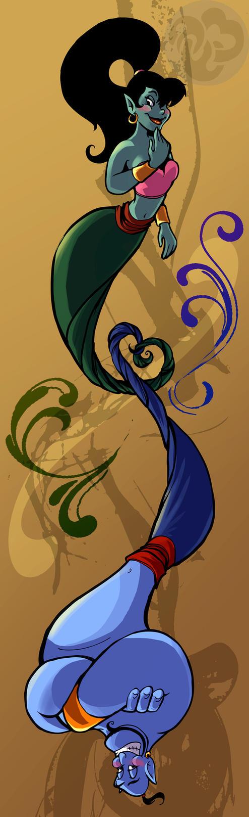 Aladdin Genie And Eden By CaptainashletART