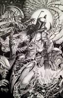Boba Fett vs Aliens by Meletiche