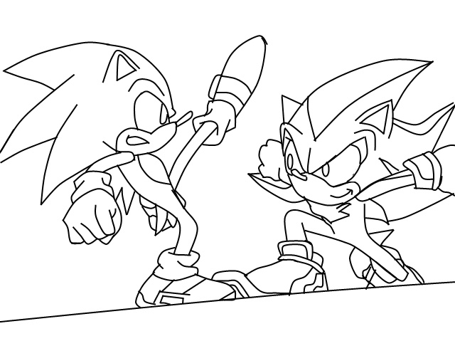 Sonic and ShadowLineArt by thedangoking on DeviantArt