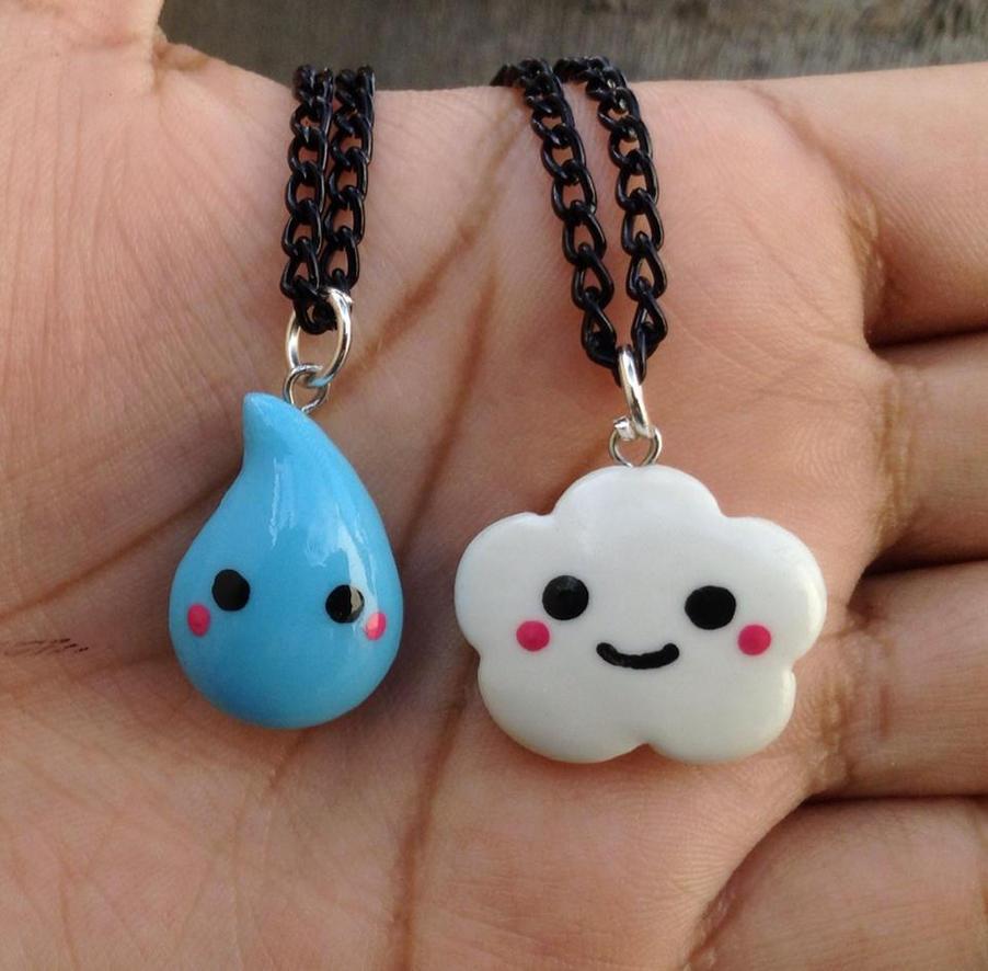 Kawaii raindrop and cloud necklace set by Saloscraftshop