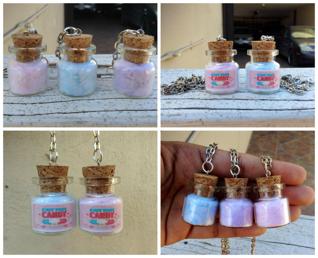 BFF Cotton candy charm keychains or necklaces by Saloscraftshop