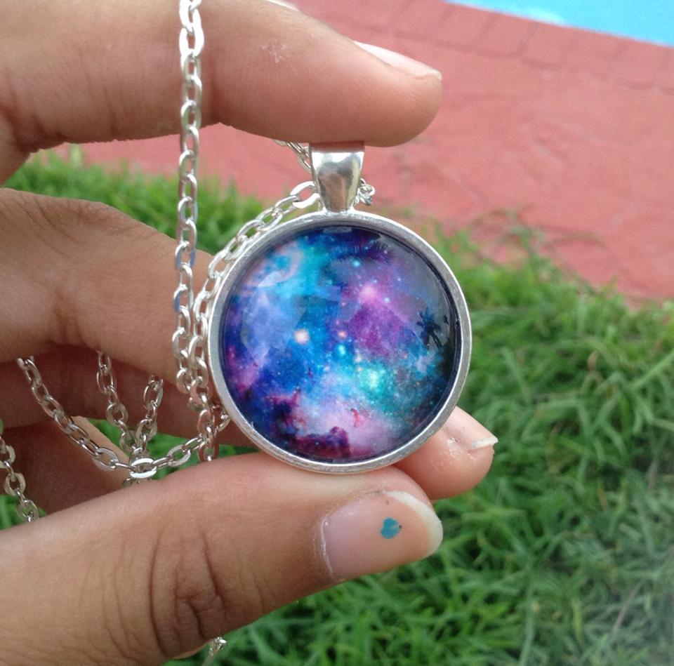 Purple and blue galaxy nebula pendant necklace by Saloscraftshop