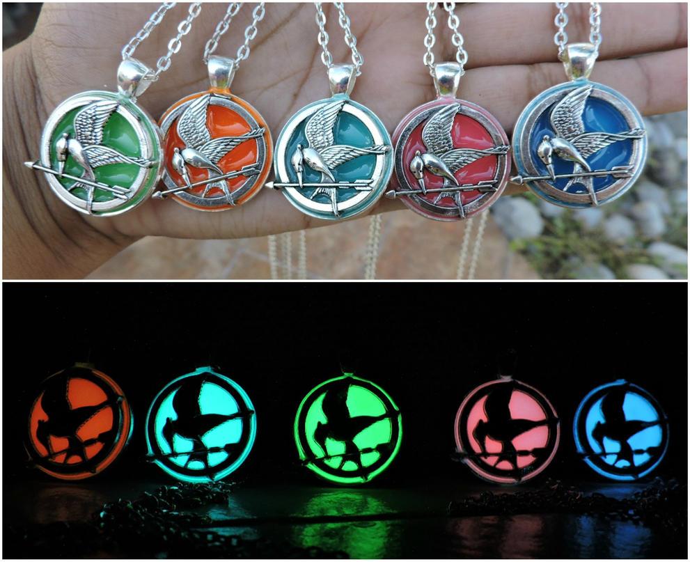Glow in the dark mockingjay necklace silver style by saloscraftshop aloadofball Gallery