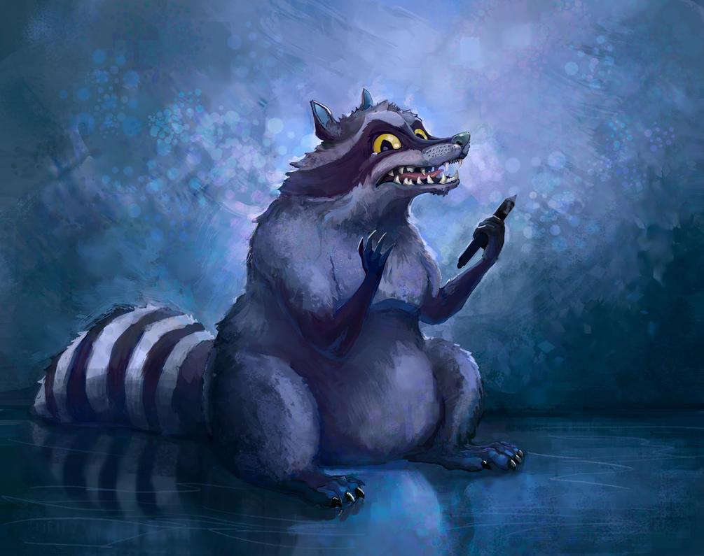 Raccoon the artist by NiFirr