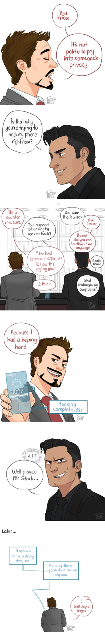 Stark vs Wayne by pencilHead7