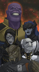 Thanos and the Black Order by pencilHead7