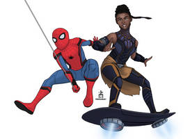 Spidey and Shuri by pencilHead7