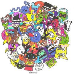 Katamari of Characters by MrWalkieTalkie