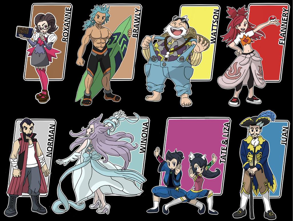 neo hoenn gym leaders by xxnightwindxx on deviantart