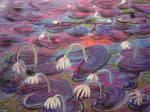 Purple Lit Lillies