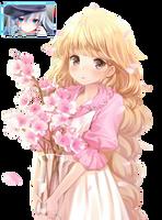 Anime girl with sakura by Redixx