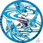 Handmade Vinyl Record Art -  Koi Carps