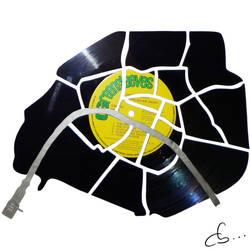 Handmade Vinyl Record Art - Paris Is Spinning by Cb375