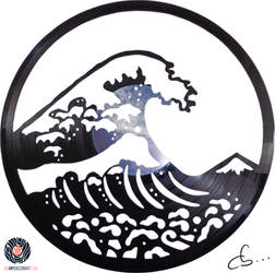 Vinyl Record Art -The Great Wave Off Kanagawa by Cb375
