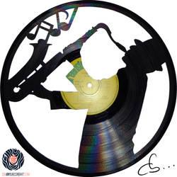 Handmade Vinyl Record Art - Bill The Saxophonist by Cb375