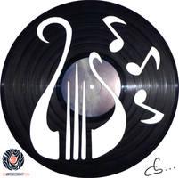 Handmade Vinyl Record Art - Harp