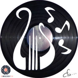Handmade Vinyl Record Art - Harp by Cb375