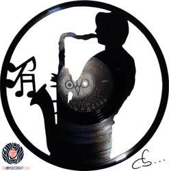 Handmade Vinyl Record Art - Gerard The Saxophonist