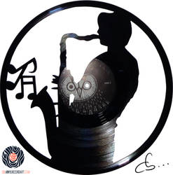 Handmade Vinyl Record Art - Gerard The Saxophonist by Cb375