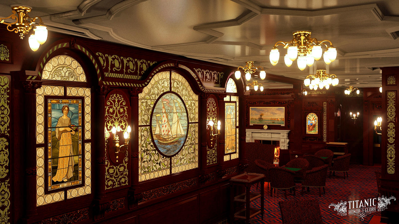 Titanic S First Class Smoke Room By Titanichonorandglory