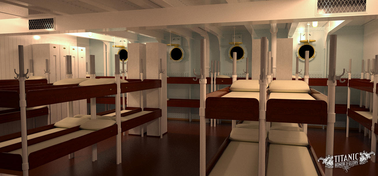 A crew dormitory or glory hole aboard titanic by for First class cruise ship cabins