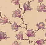 Seamless pattern. Japanese magnolia tree.