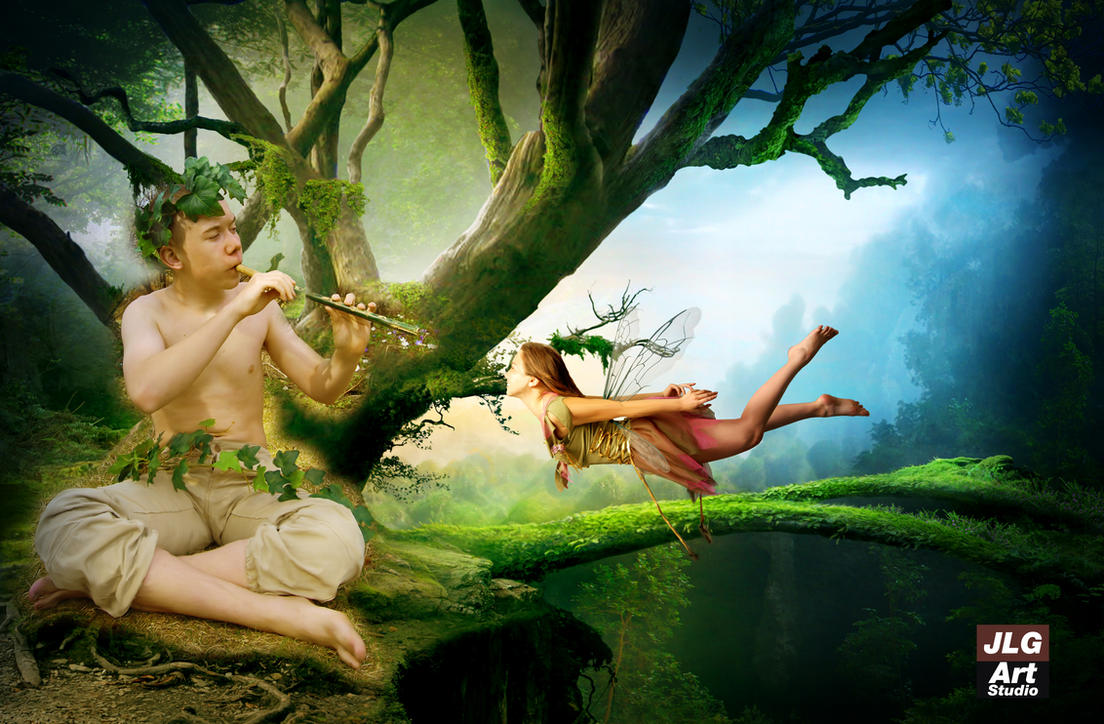 The Fairy and the Faun by jlgartstudio