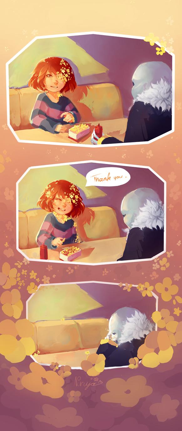 Flowerfell - Meeting at Grillby's by Niruja