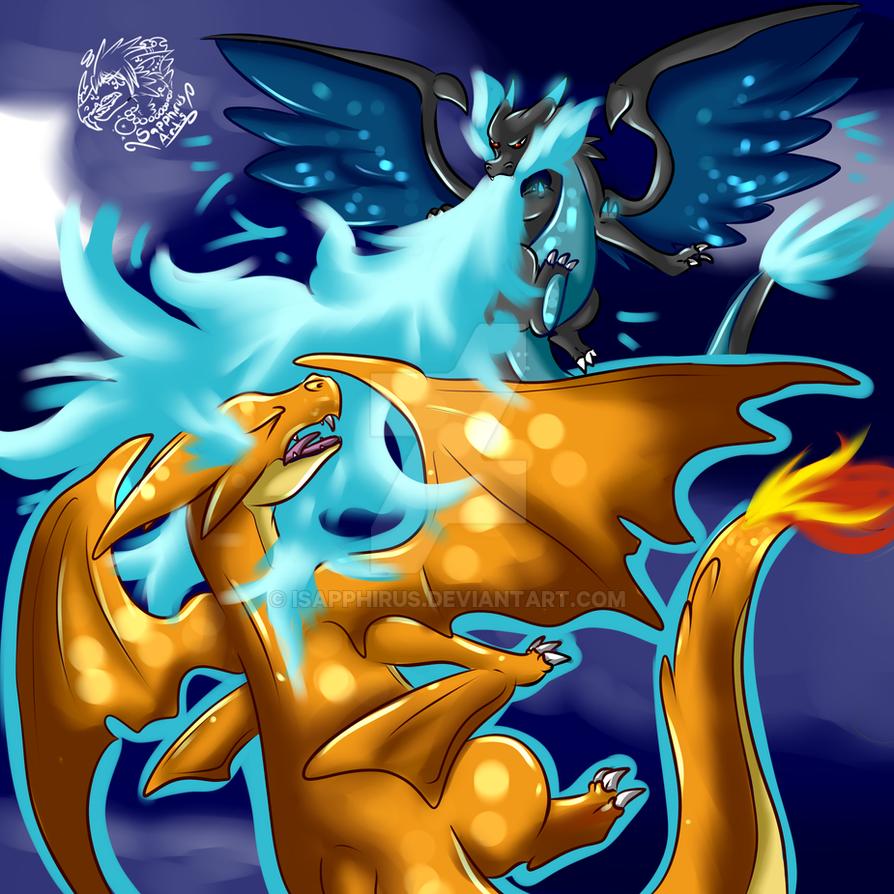 Mega charizard x vs y sky battle by isapphirus on deviantart - Mega evolution dracaufeu x ...