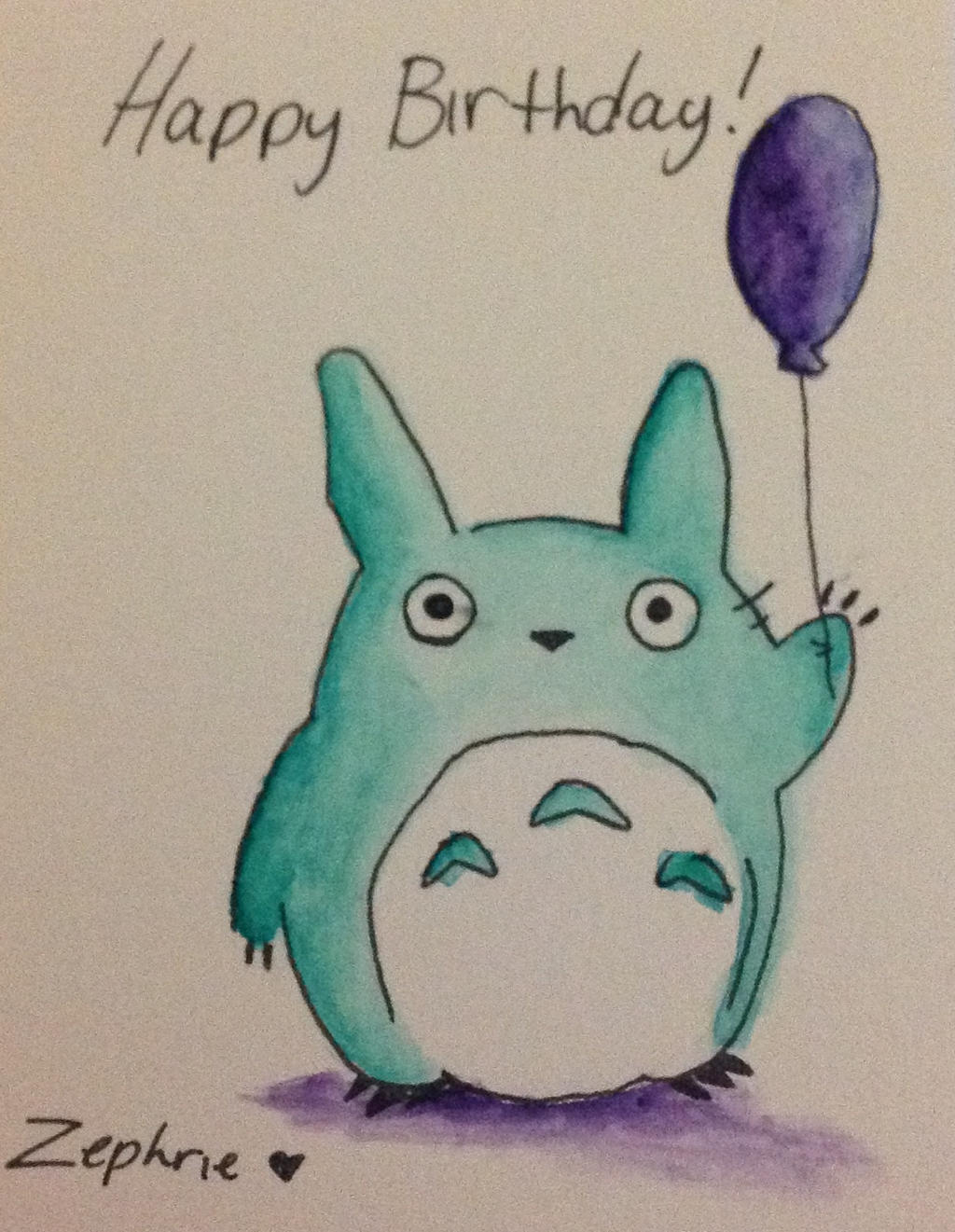 Totoro Birthday Card by flowers32 on DeviantArt – Totoro Birthday Card