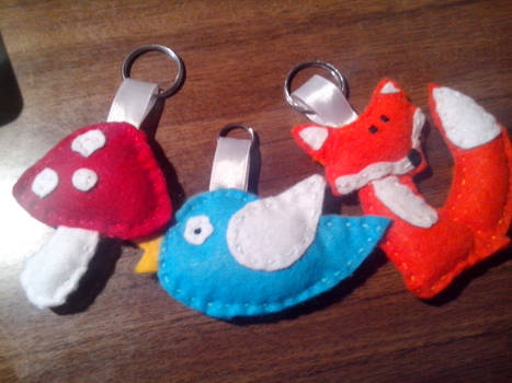 Handmade keychains: Fox, Bird and Mushroom.