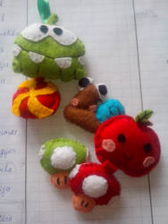 Keychains made out of felt.
