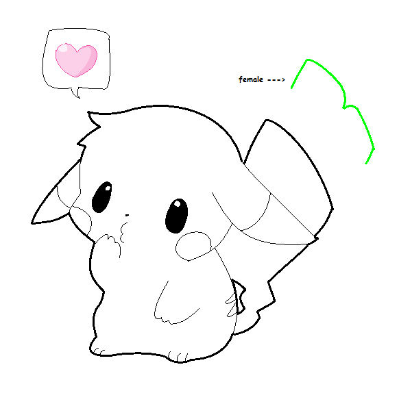 chibi love pikachu lineart by xXAgitoxMizakiXx