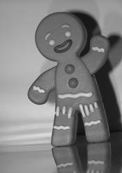 B+W ginger bread man by jamiiejamiie