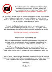 Revoking Permissions to Use my Comics on YouTube by MariStoryArt