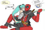 Scrap: Deadpool and Miku by ashcomics