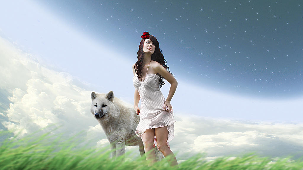 Arctic Wolf and Girl by toosox