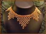 Gold Harlequin Beaded Collar by BacktoEarthCreations