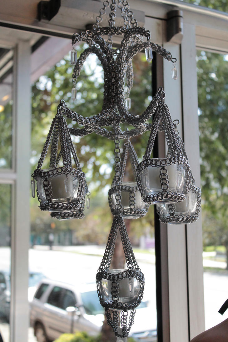 Chainmail and Crystal Chandelier by BacktoEarthCreations
