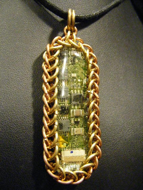Brass and copper chainmail circuit pendant by backtoearthcreations mozeypictures Image collections