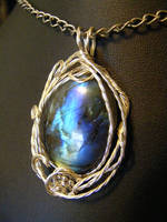twisted wire labradorite pendant by BacktoEarthCreations