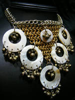 tribal bell and shell necklace by BacktoEarthCreations